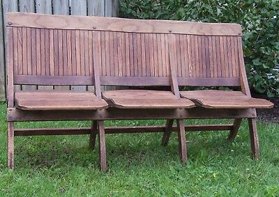Vintage 3 Seat Section Wood Folding Bench