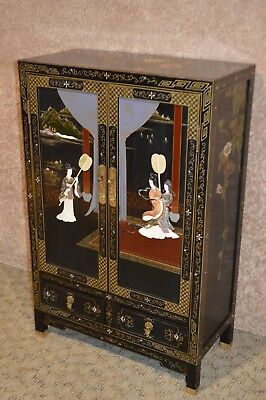 Two Door Hand Painted Oriental Cabinet has Two Drawers w/Raised Appliques