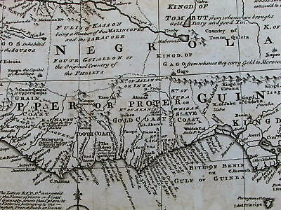 West Africa Negroland Slave Gold Ivory coast c.1747 Bowen decorative old map