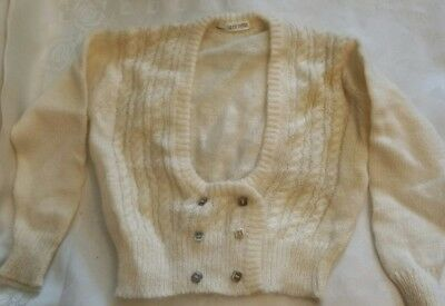 Real vintage childs cream knitted woolly cardigan La Cicogna age 3