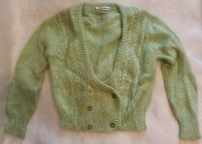 Real vintage childs green knitted woolly cardigan La Cicogna age 3