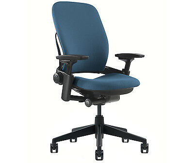 New Steelcase Leap Chair Adjustable V2 Buzz2 Blue Fabric Desk Seat - Black Frame