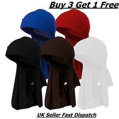 Men's Du-rag Bandanna Sports DuRag Scarf Head Rap Tie Down Band Biker Cap UK B3