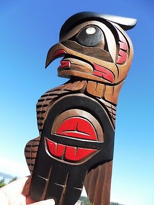 Northwest Coast First Nations Native wooden Art carving: Owl/Hawk Transformation