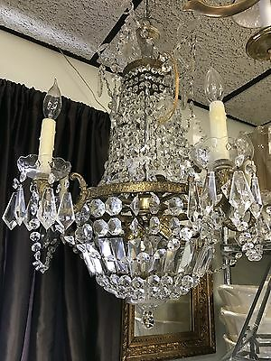 1940s Brass And Crystal Chandelier