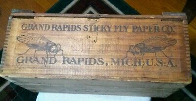 Antique Grand Rapids Sticky Fly Paper Wooden Box Pest Control Great Graphics