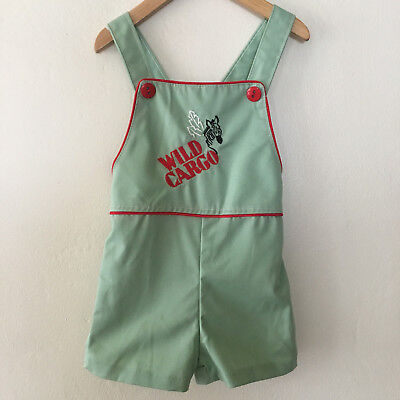 Vintage Health-Tex Shortalls w/ Zebra Toddler Kids Boys Girls Size 3T