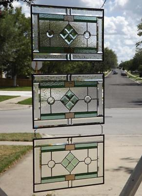 """•TRADITIONAL• Beveled Stained Glass Window Panel  ≈21 1/2"""" x14 1/2""""(55x37cm)"""