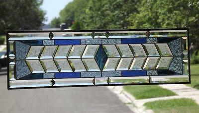 """•  OCEAN BLUES •extra long -39 1/2"""" x11 """"( 100x28CM ) *Beveled Stained Glass"""