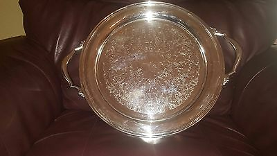 ✔Rare!!! Vintage!!! Very Large And Heavy Oneida Round Tray With Handles✔