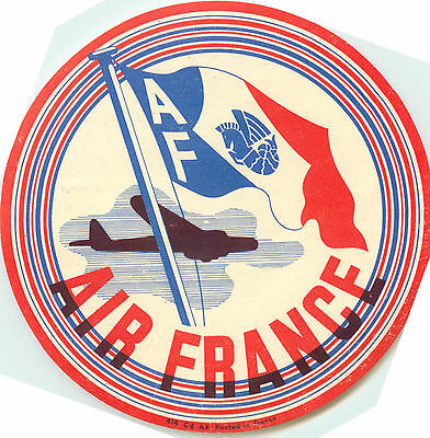 AIR FRANCE - Colorful & Scarce Early Airline Luggage Label , circa 1936