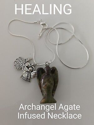 00686 Agate Archangel Infused Necklace Doreen Virtue Certified Practitioner Aus