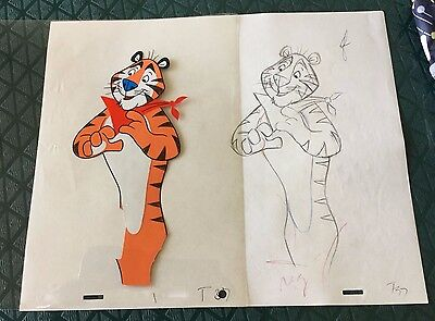 ORIG TONY THE TIGER FROSTED FLAKES 1970s TV COMMERCIAL ANIMATION CEL + DRAWING!
