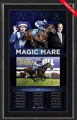 Winx Horse Racing Chris Waller & Hugh Bowman Hand Signed Framed Magic Mare Print
