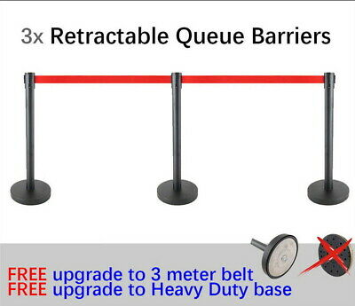 3x Queue Barriers Crowd Control 3 meter Retractable Belt stanchions Black red