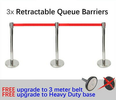 3x Queue Barriers Crowd Control 3 meter Retractable Belt stanchions Silver red