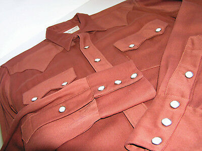 Vintage Rockmount Gabardine Cowboy Shirt Brown Pearl Snaps S/M USA Ranch Wear
