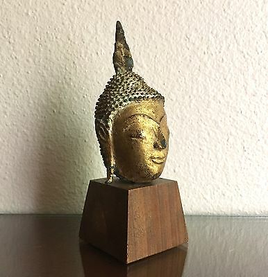 """Fine Antique Thai Gilt Bronze Buddha Head Bust on Stand, 7"""" Likely Pre 19th C."""