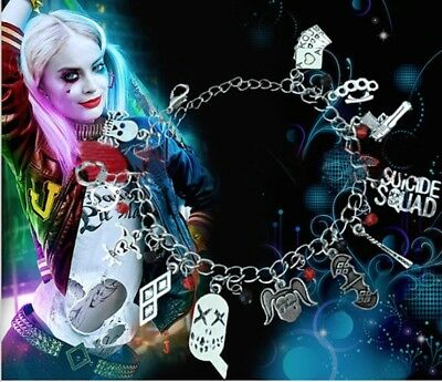 Suicide Squad Harley Quinn Silver Charm Bracelet With 12 Charms