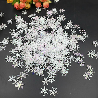 300pcs Classic Shiny Snowflake Ornaments Christmas Tree Holiday Party Home Decor
