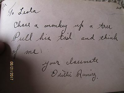 Antique 1920's Hand written Poem book Journal for Leola from Snyder HighSchool