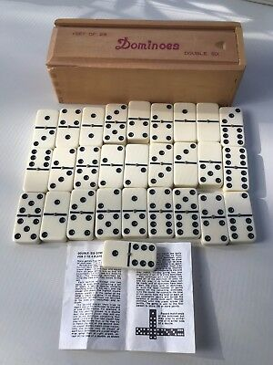 Vintage Double Six Dominoes Set.Brass Spinner.Set of 28 Tile Game.Wooden Box