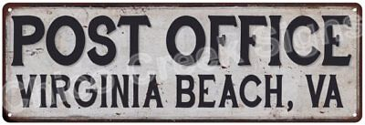 Virginia Beach, Va Post Office Vintage Look Metal Sign Chic Retro 6182106