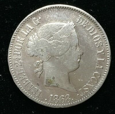 1868 Isabel 2A 50 centavos Spain-Philippines Silver Coin  - lot 18