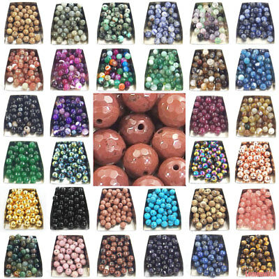 faceted round natural gemstone spacer beads stone 4mm 6mm 8mm 10mm jewelry DIY