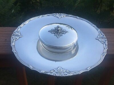 ELEGANT Silver Coctail Serving Tray & Lidded Dip Bowl CHATELAINE By Oneida
