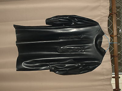 Unisex Black Latex Rubber Baby Doll Top Short Puffed Sleeves Fetish