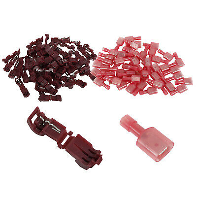 200 pc Female Quick Disconnect Wire Connectors Terminals Red 22-18 AWG Ga .187