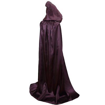 Txian Extra Long Hooded Satin Cloak, Halloween Christmas Fancy Cape for Adults