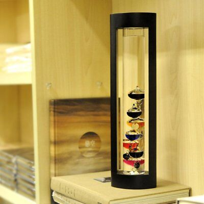 7 inch Cylindrical Blown Glass Galileo Liquid Thermometer Temperature Indicator