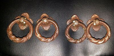Antique vintage metal flower dresser ring pulls