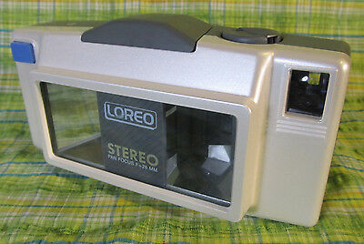 Loreo Stereo 3D camera 35mm film 28mm lense Vintage 3 dimensional camera w/ case