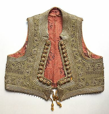 Exceptional Antique Ottoman Gold & Silver Embroidered Yelek Vest w/ Coral Beads