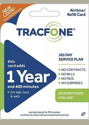 TRACFONE $99.99 Refill 1 Year 400 Minutes.