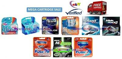 Genuine Gillette Fusion Proglide Power Mach 3 M3 Turbo Razor Cartridges Blades