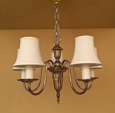 Vintage Lighting 1920s Colonial Revival brass chandelier