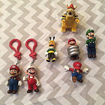 Super Mario Bros Nintendo Bundle Figurines Keychains Luigi Bowser Collection
