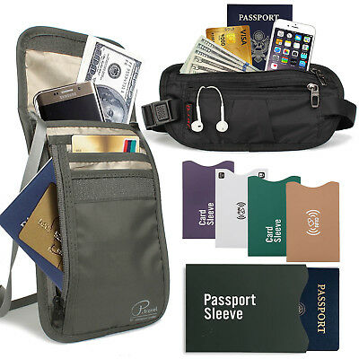 RFID Travel ANTI-THEFT Set - Neck Pouch Passport Holder Waist Bag ID Card Sleeve