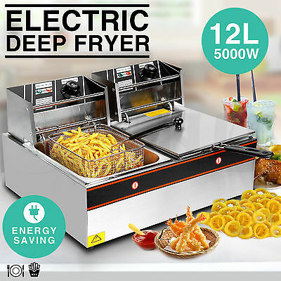 5000W 12L Dual Tanks Electric Deep Fryer Commercial Tabletop Fryer+Basket Scoop