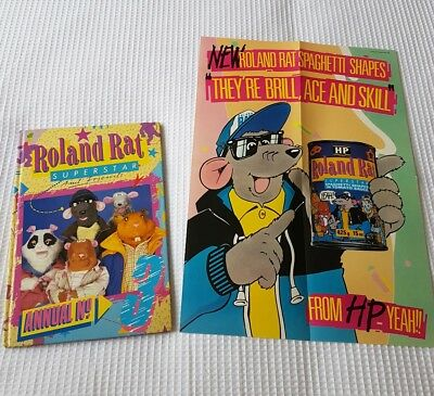 ROLAND RAT SUPERSTAR ANNUAL 3 1987 HARDBACK BOOK and spaghetti shapes poster lot