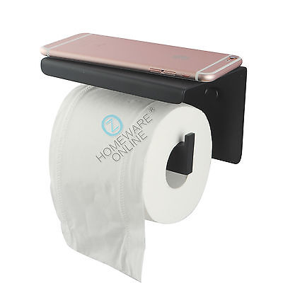 Black Toilet Paper Roll Holder With Shelf Wall Mount Hook Hanger Stainless Cover