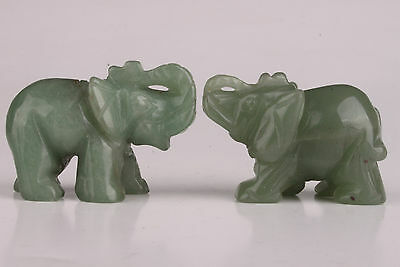 2 Jade Carved Lovable Elephant Statue Figurine Pendant Collectable  Decoratible