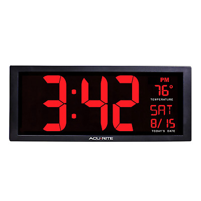 Large Digital LED Wall Clock Temperature Table Memory Big Extra Oversize Date