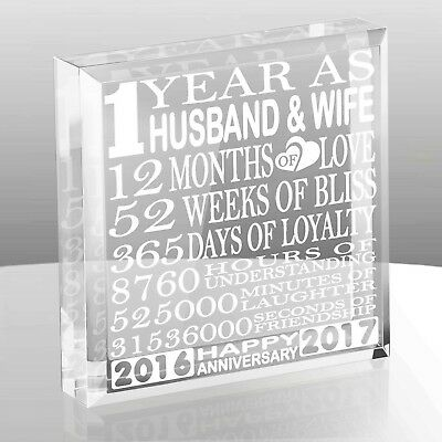 Kate Posh - 1 Year as Husband and Wife - Our First Anniversary Gift Paperweig...