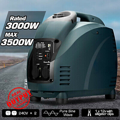 GenTrax Portable Inverter Generator 3.5kVA Camping Digital Petrol Pure Sine New