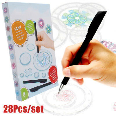 28Pcs Spirograph Kid Drawing Deluxe Design Set Original Toy Game Gears Wheels